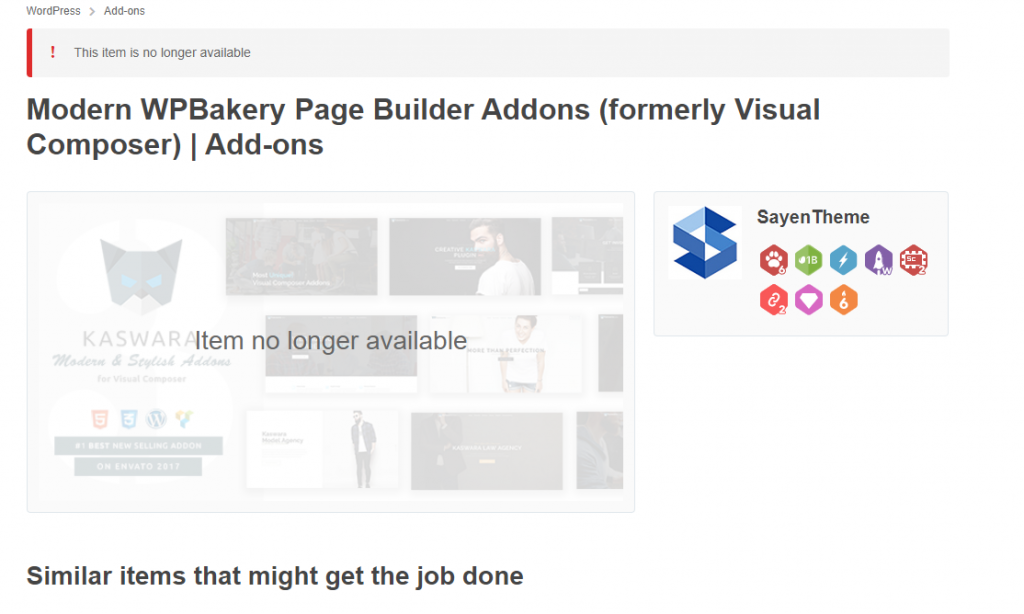 Author SayenTheme deleted Modern WPBakery Page Builder Addons from Codecanyon